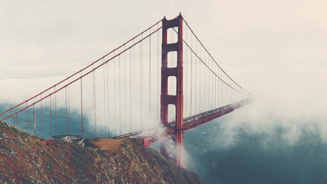 Golden Gate Bridge in the clouds of San Francisco